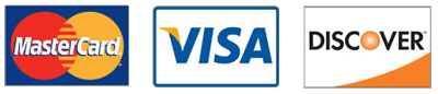 We accept Visa, Mastercard and Discover credit cards